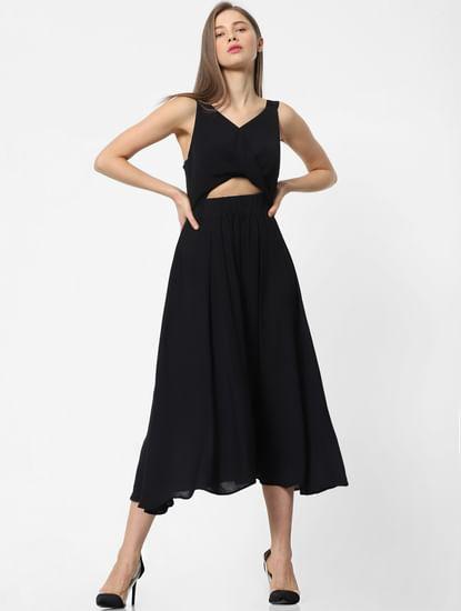 Black Cut-Out Midi Dress