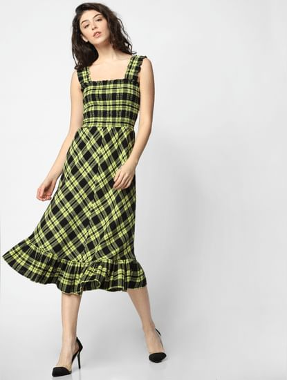 Black Check Midi Dress
