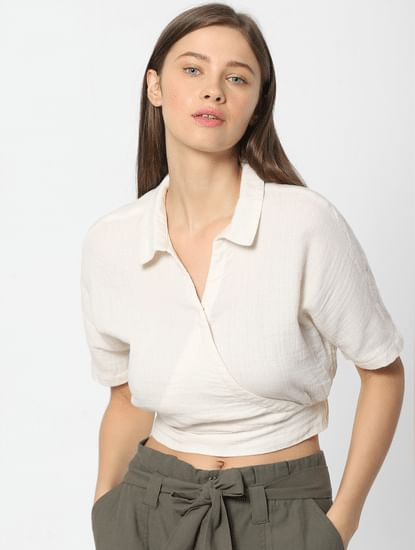 Cream Wrap Shirt