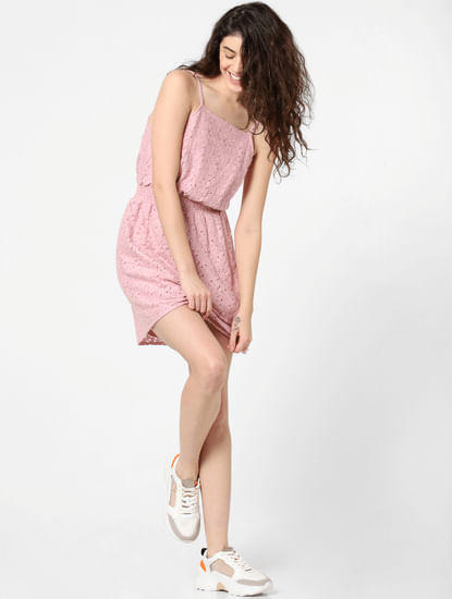 Pink Lace Fit & Flare Dress