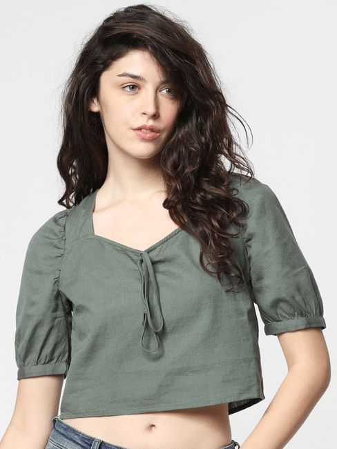 Green Puffed Sleeves Top