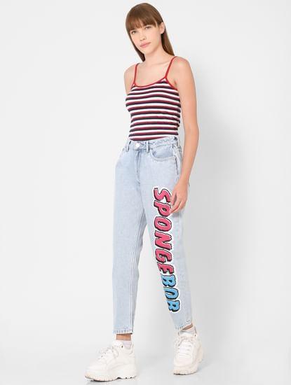 Light Blue Mid Rise Printed Boyfriend Jeans