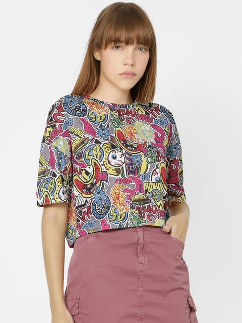Multi-Coloured All Over Print T-shirt