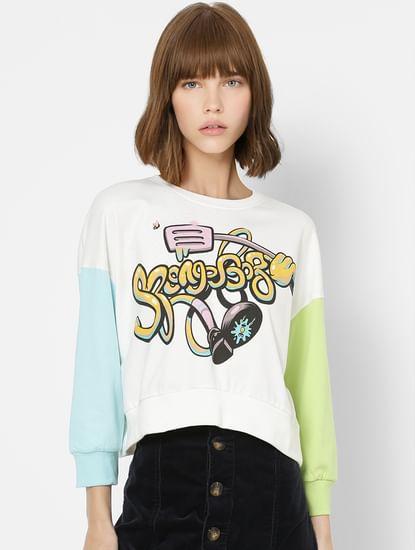 White Graphic Print Colourblocked Sweatshirt