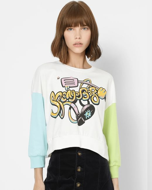 White Graphic Print Colourblocked Sweatshirt