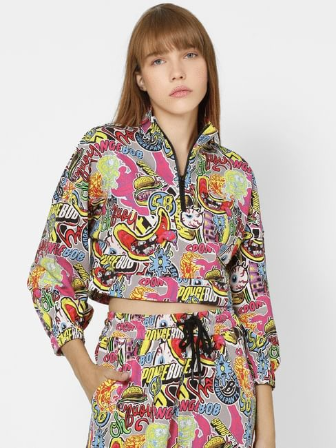 Multi-Coloured All Over Print Cropped Sweatshirt