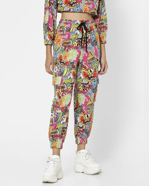 Multi-Coloured Mid Rise All Over Print Joggers