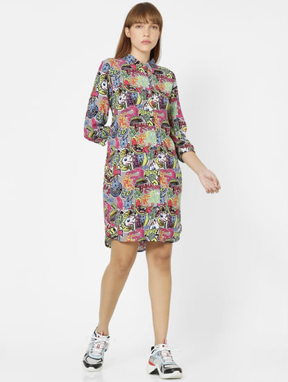 Multi-Coloured All Over Print Shirt Dress