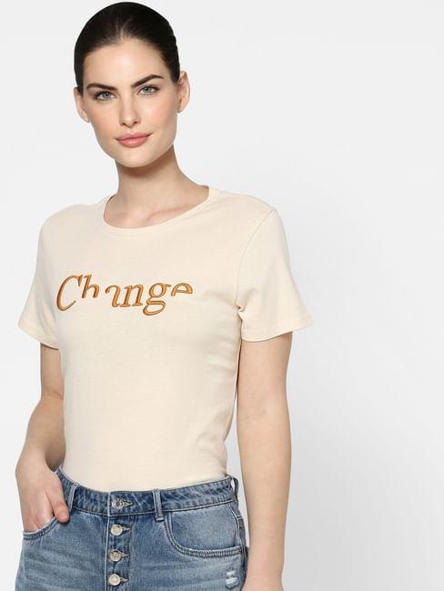 Beige Typographic Print T-shirt