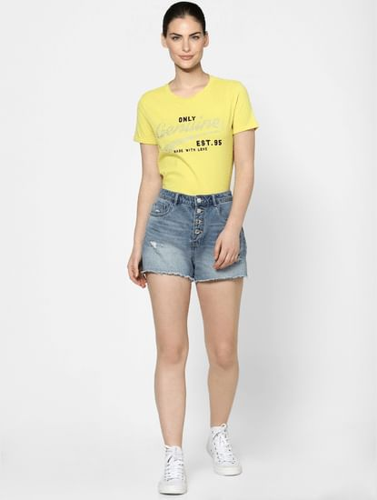 Yellow Embellished Text Print T-shirt