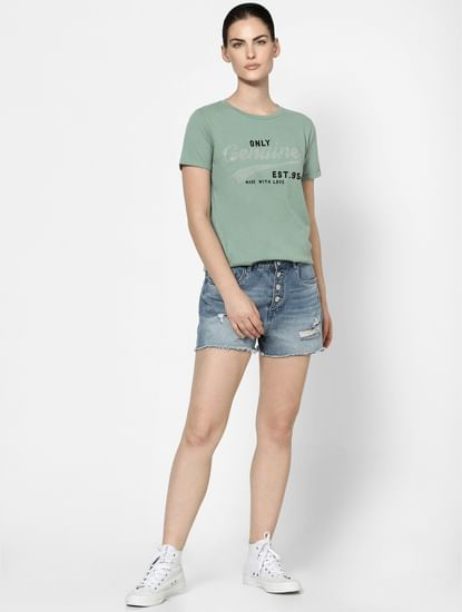 Green Embellished Text Print T-shirt
