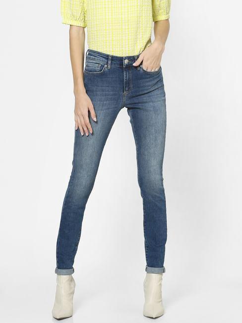 Blue Mid Rise Curved Back Yoke Skinny Jeans