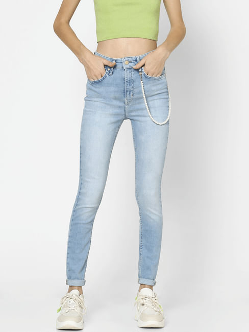 Blue High Rise Pearl Chain Detail Skinny Jeans