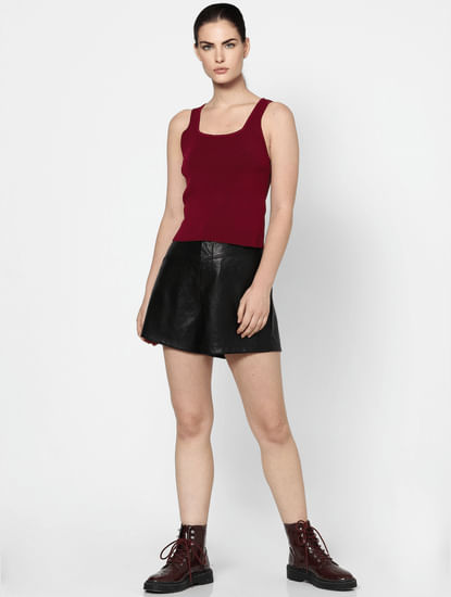 Red Textured Tank Top