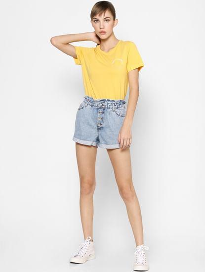 Yellow Organic Cotton Slogan Print T-shirt