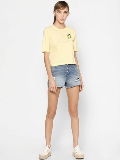 Yellow Striped Embroidered T-shirt