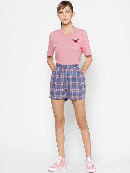 Pink Striped Embroidered T-shirt