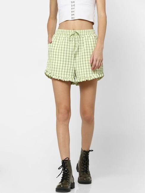 Light Green Check Frill Hem Shorts