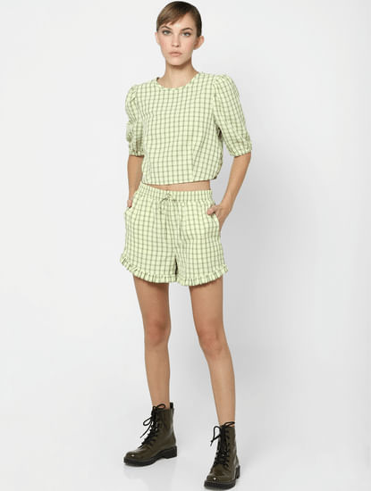 Green Check Puff Sleeve Top
