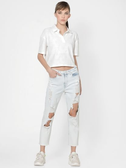 Light Blue High Rise Ripped Straight Jeans