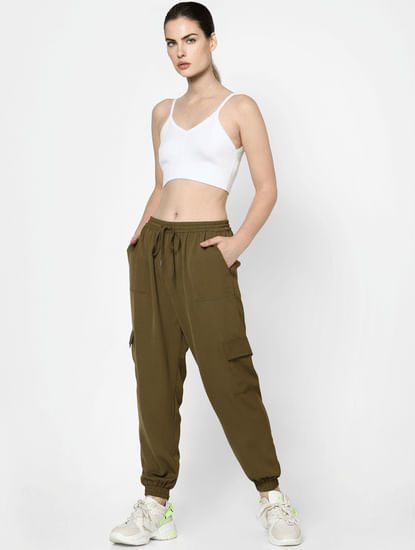 Olive Green Mid Rise Joggers