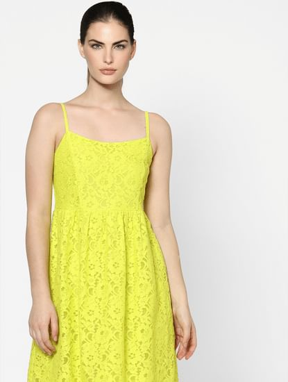 Yellow Lace Fit & Flare Dress
