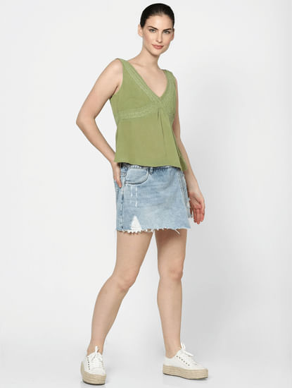 Green Embroidered Top
