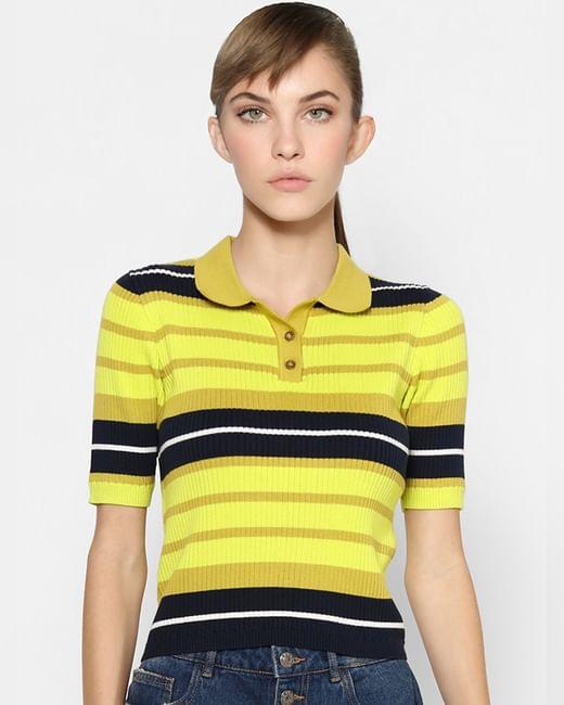 Yellow Ribbed Polo T-shirt