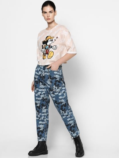 Beige Mickey Mouse Print Top