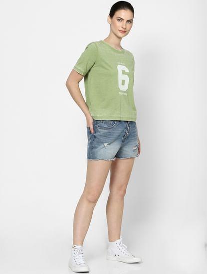 Green Washed Text Print T-shirt