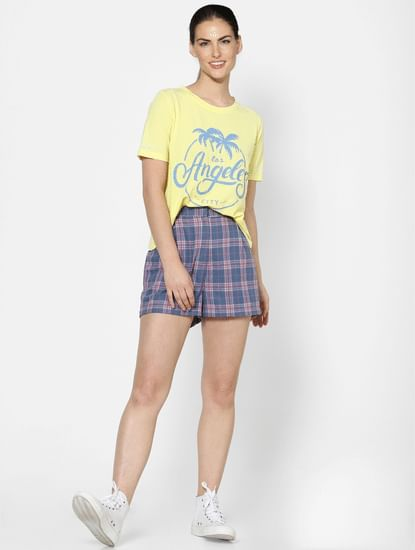 Yellow Washed Text Print T-shirt