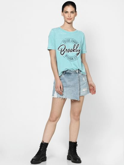 Blue Washed Text Print T-shirt