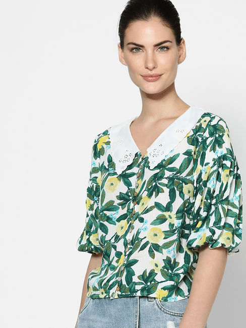 Green Schiffli Collar Tropical Print Top