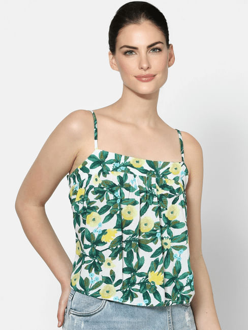 Green Tropical Print Strappy Top