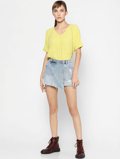 Yellow Pleated Neck Top