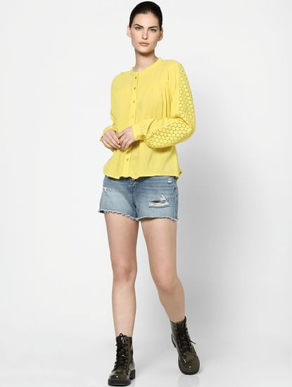 Yellow Lace Sleeve Top