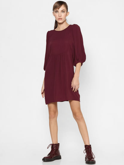 Maroon Puff Sleeves Fit & Flare Dress