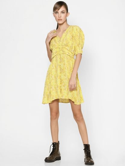 Yellow All Over Print Fit & Flare Dress