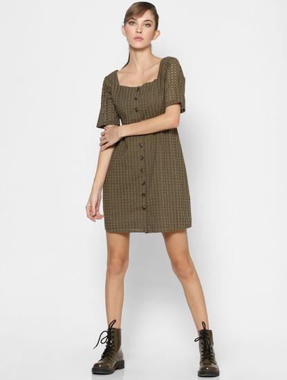 Green Schiffli Fit & Flare Dress