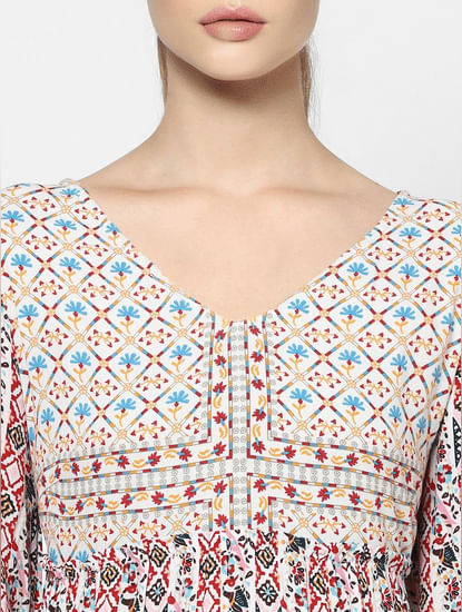 Pink All Over Print Midi Dress