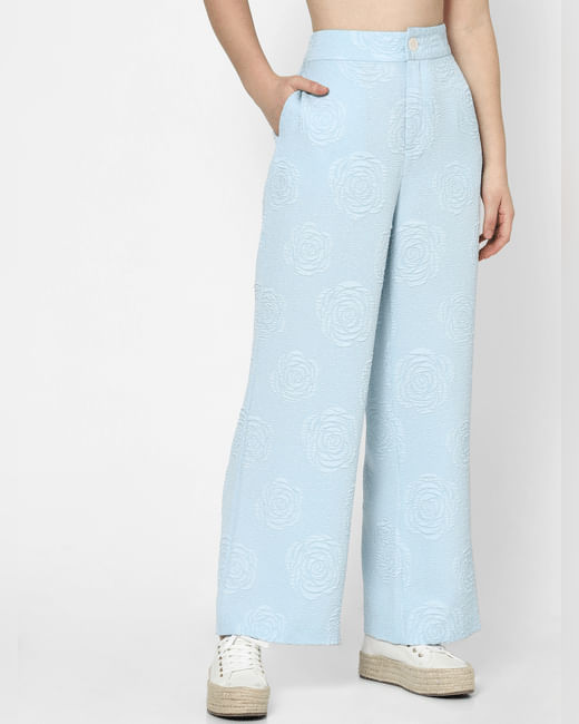 Blue High Rise Jacquard Wide Leg Pants