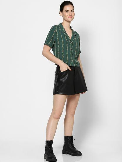 Green Resort Collar Printed Shirt