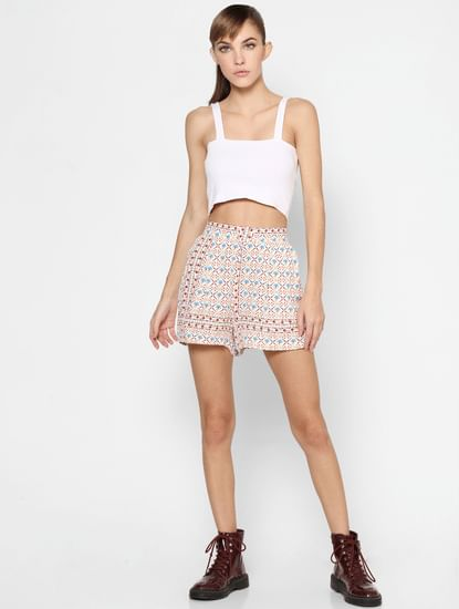 Light Pink Mid Rise All Over Print Shorts