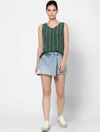 Green Printed Layered Top