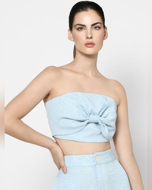 Blue Front Bow Jacquard Tube Top