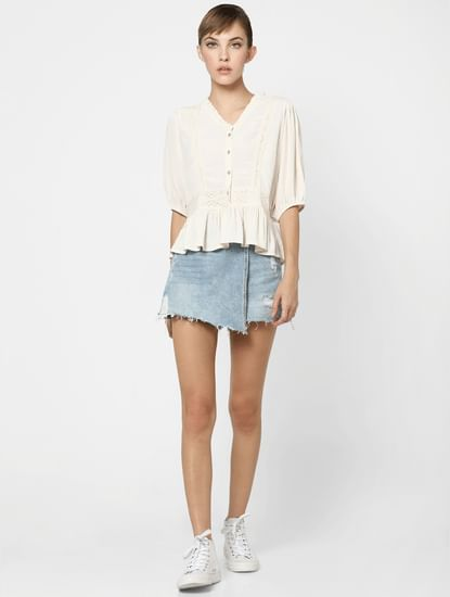 Off-White Lace Detail Peplum Top
