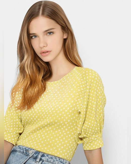 Yellow Printed Jersey Top
