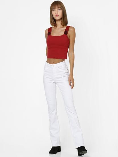 White Mid Rise Medium Flare Jeans