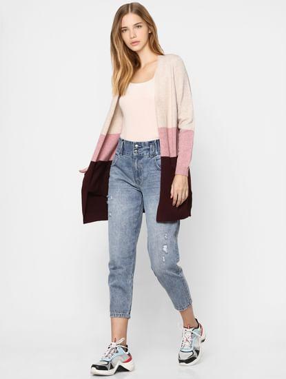 Beige Colourblocked Long Cardigan