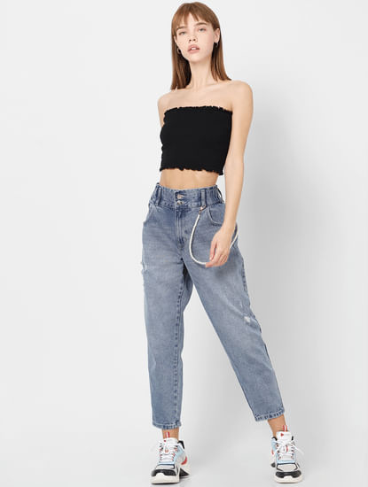 Blue High Rise Carrot Fit Jeans